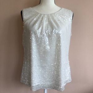 Calvin Klein Womens L White Sequin Sleeveless Top
